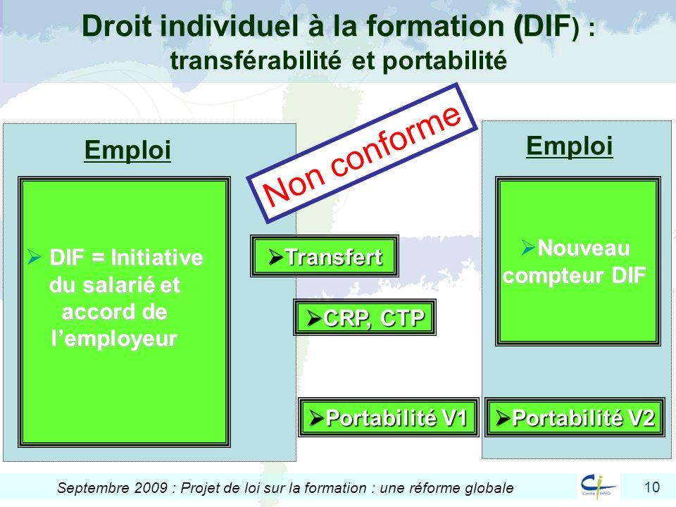 Droit individuel à la formation (DIF) : transférabilité et portabilité