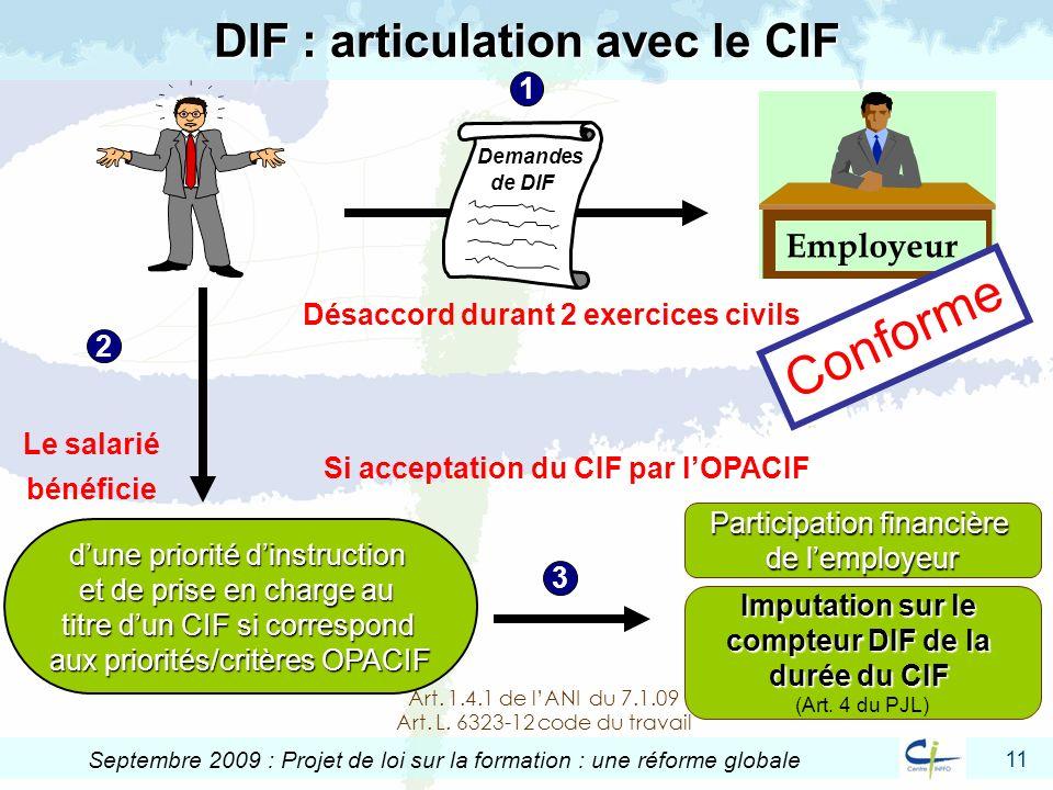 DIF : articulation avec le CIF