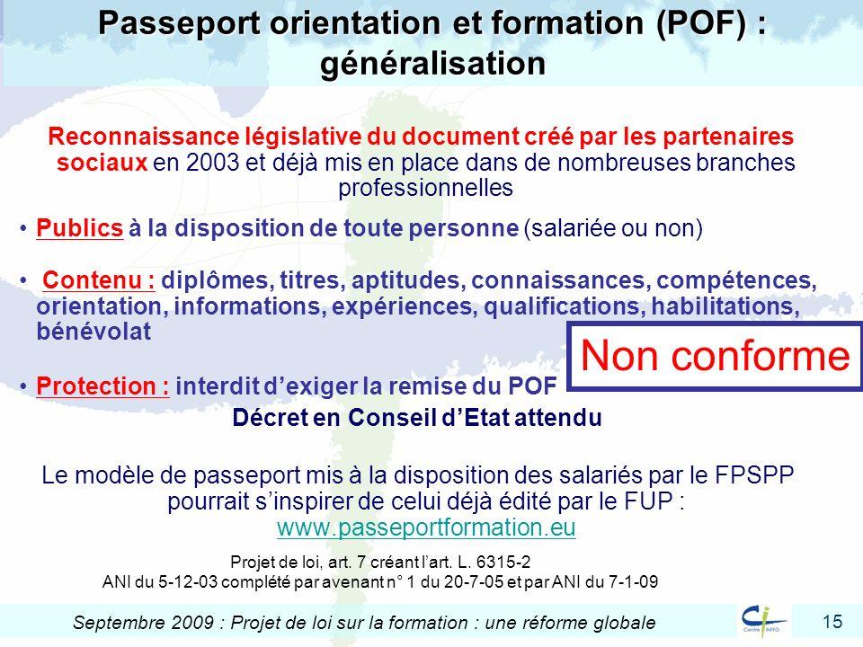 Passeport orientation et formation (POF) : généralisation