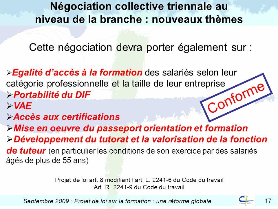 Négociation collective triennale au niveau de la branche : nouveaux thèmes