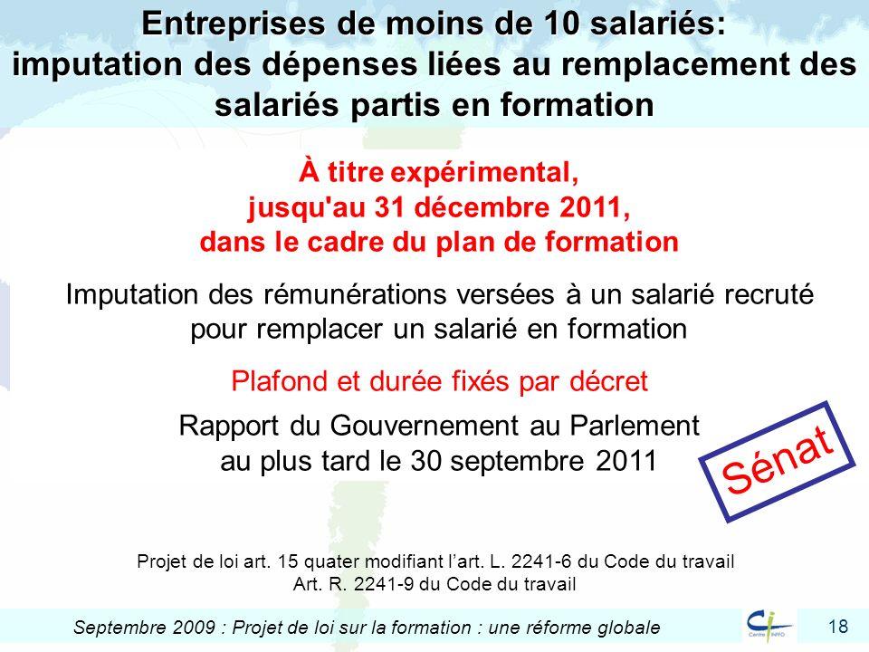 Entreprises de moins de 10 salariés: imputation des dépenses liées au remplacement des salariés partis en formation