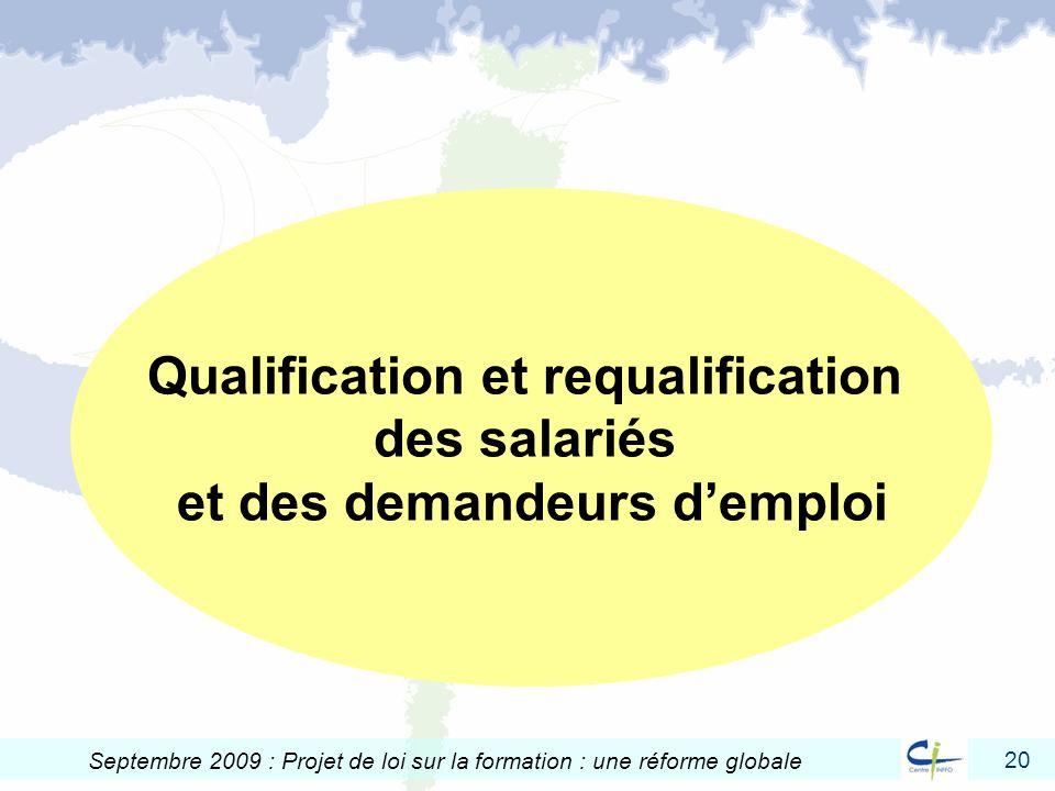 Qualification et requalification et des demandeurs d'emploi