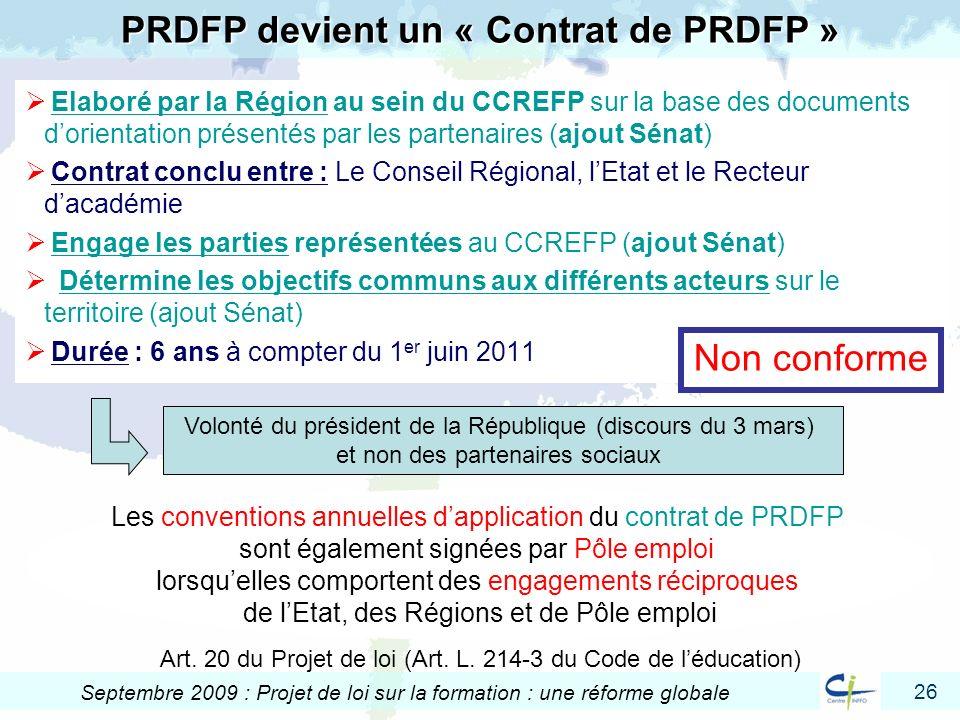 PRDFP devient un « Contrat de PRDFP »