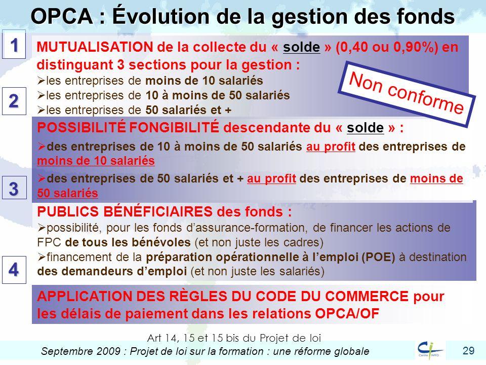 OPCA : Évolution de la gestion des fonds