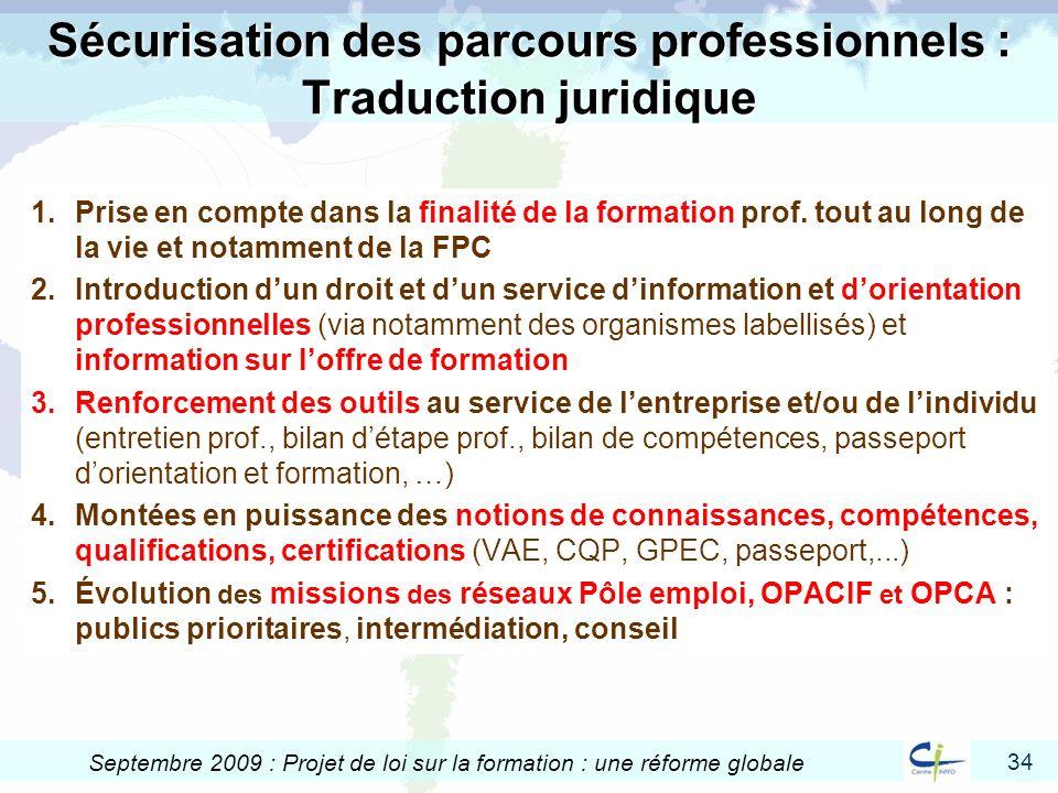 Sécurisation des parcours professionnels : Traduction juridique
