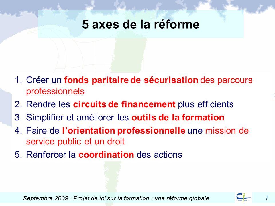 5 axes de la réforme Créer un fonds paritaire de sécurisation des parcours professionnels. Rendre les circuits de financement plus efficients.