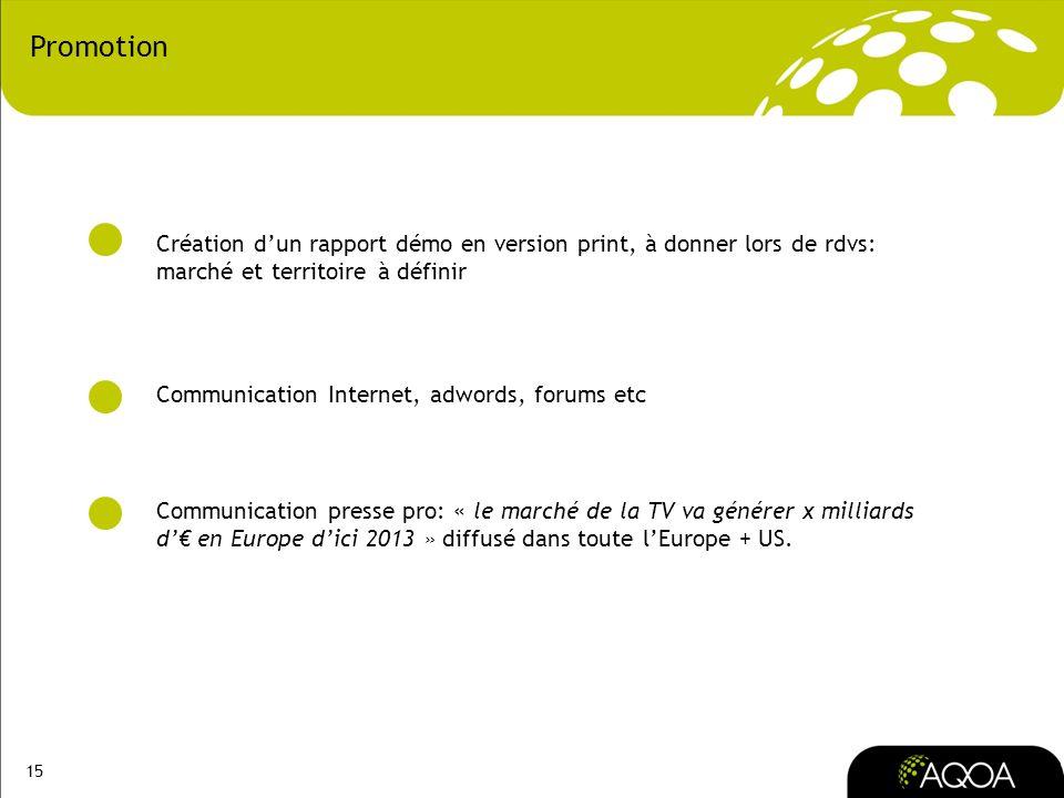 PromotionCréation d'un rapport démo en version print, à donner lors de rdvs: marché et territoire à définir.
