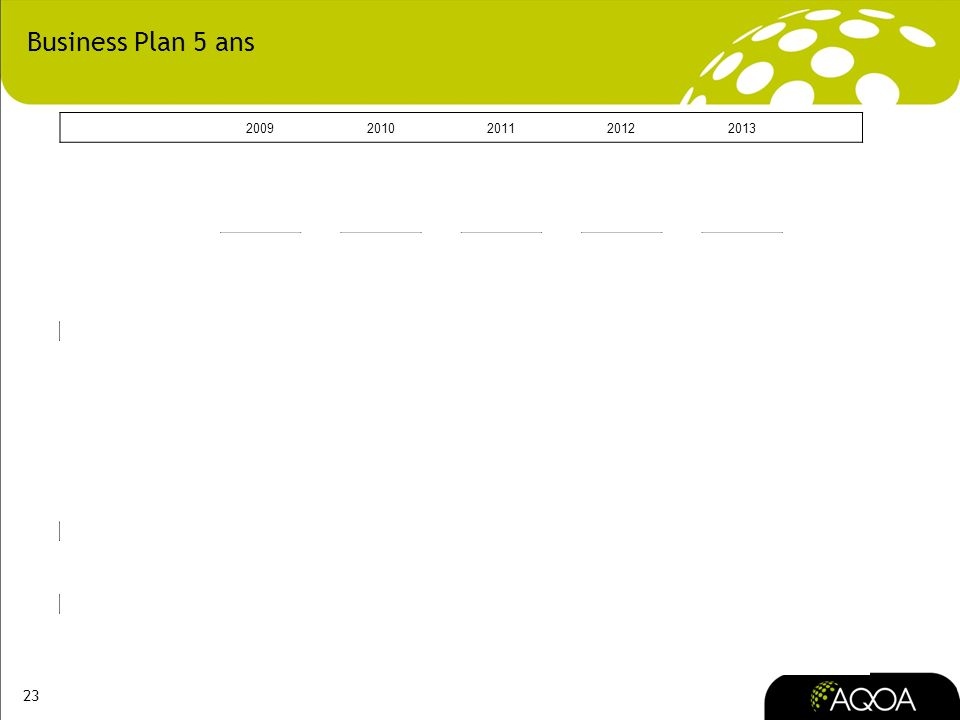 Business Plan 5 ans 2009 2010 2011 2012 2013 TERRITOIRES 12 CATEGORIES