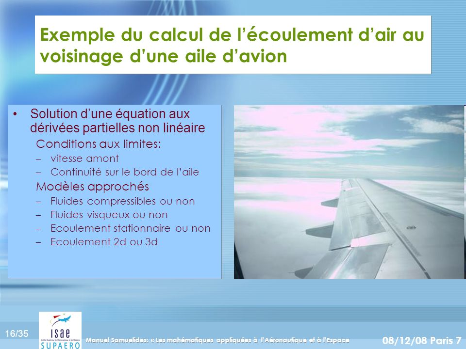 Exemple du calcul de l'écoulement d'air au voisinage d'une aile d'avion