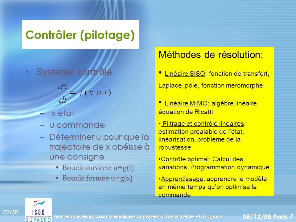 Contrôler (pilotage) Méthodes de résolution: