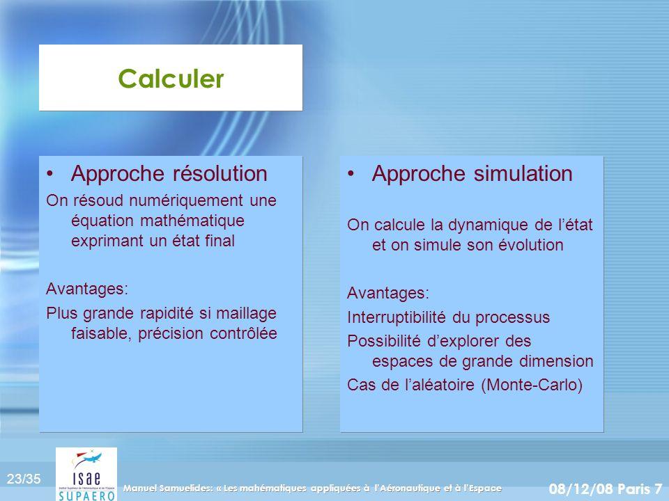 Calculer Approche résolution Approche simulation