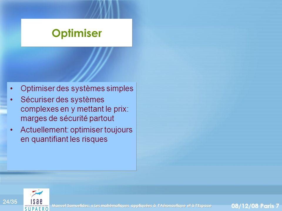 Optimiser Optimiser des systèmes simples