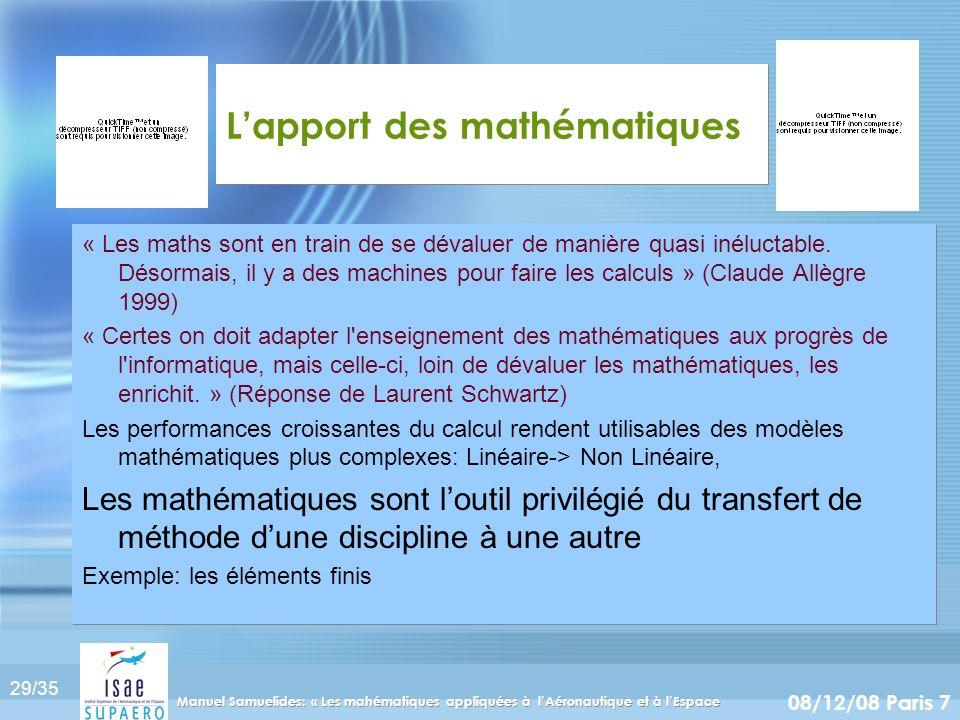 L'apport des mathématiques