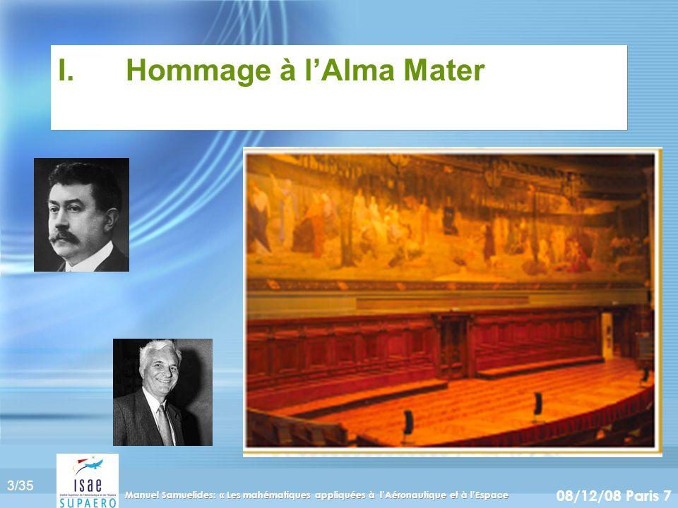 I. Hommage à l'Alma Mater