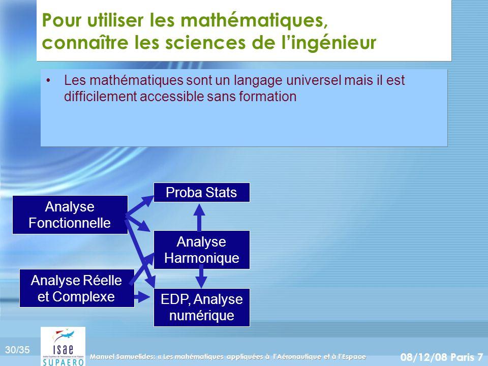 Pour utiliser les mathématiques, connaître les sciences de l'ingénieur