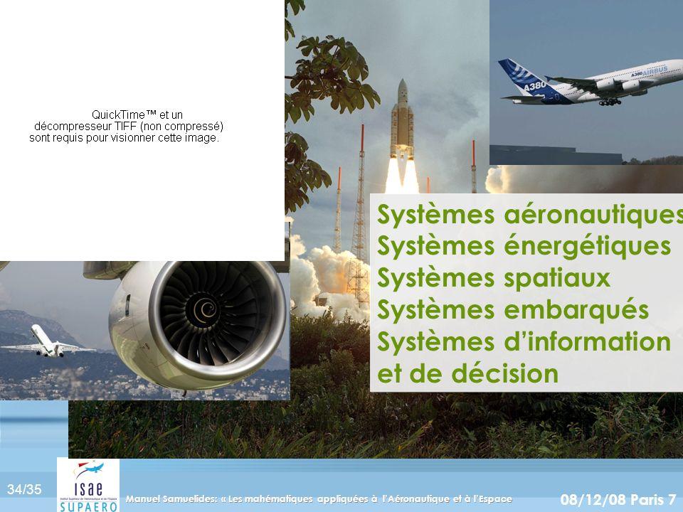 Systèmes aéronautiques Systèmes énergétiques Systèmes spatiaux Systèmes embarqués Systèmes d'information et de décision