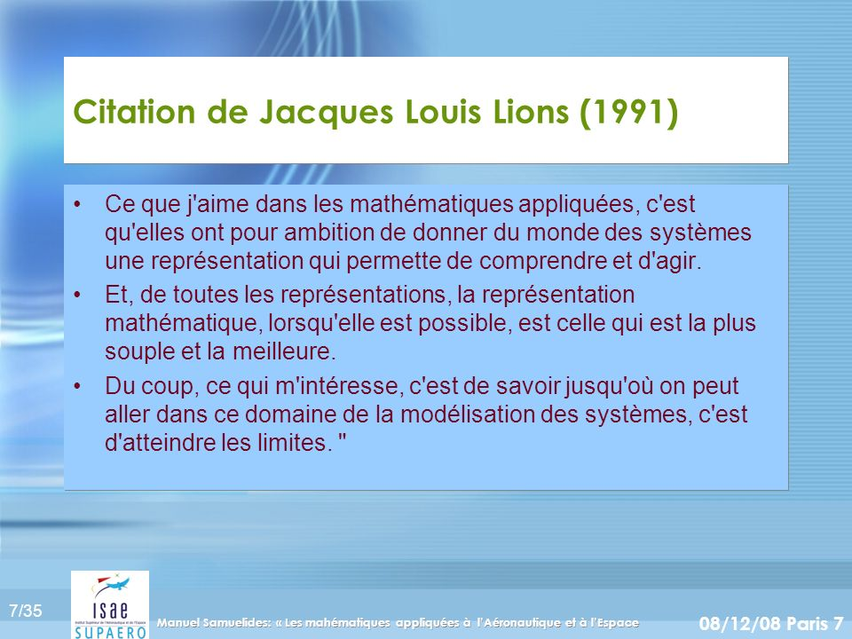 Citation de Jacques Louis Lions (1991)