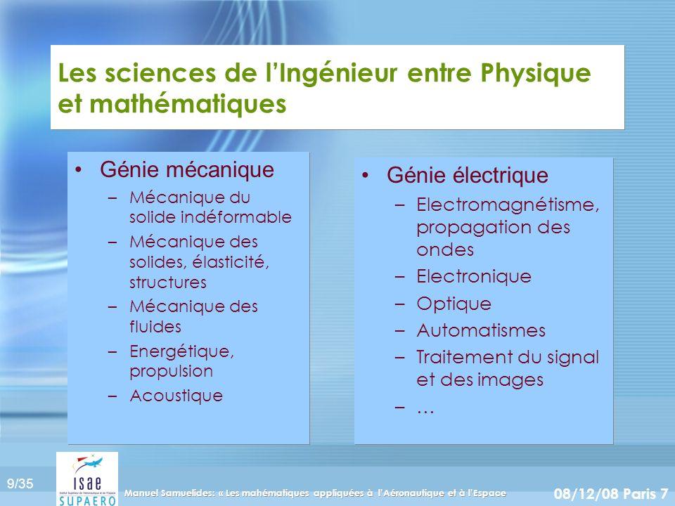 Les sciences de l'Ingénieur entre Physique et mathématiques