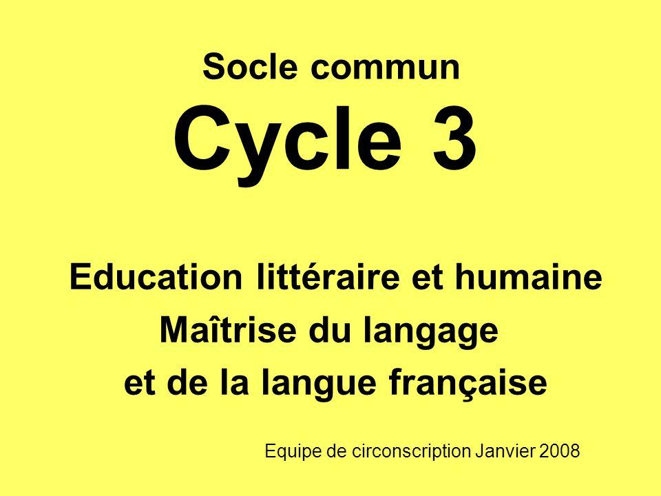 Education littéraire et humaine et de la langue française