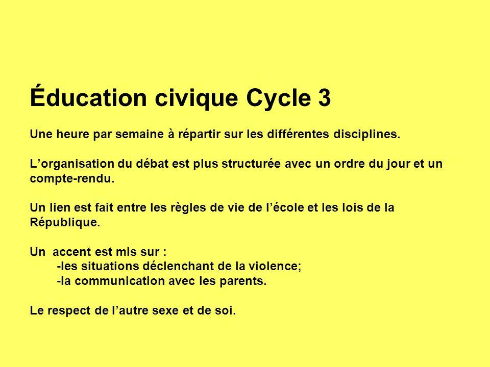 Éducation civique Cycle 3
