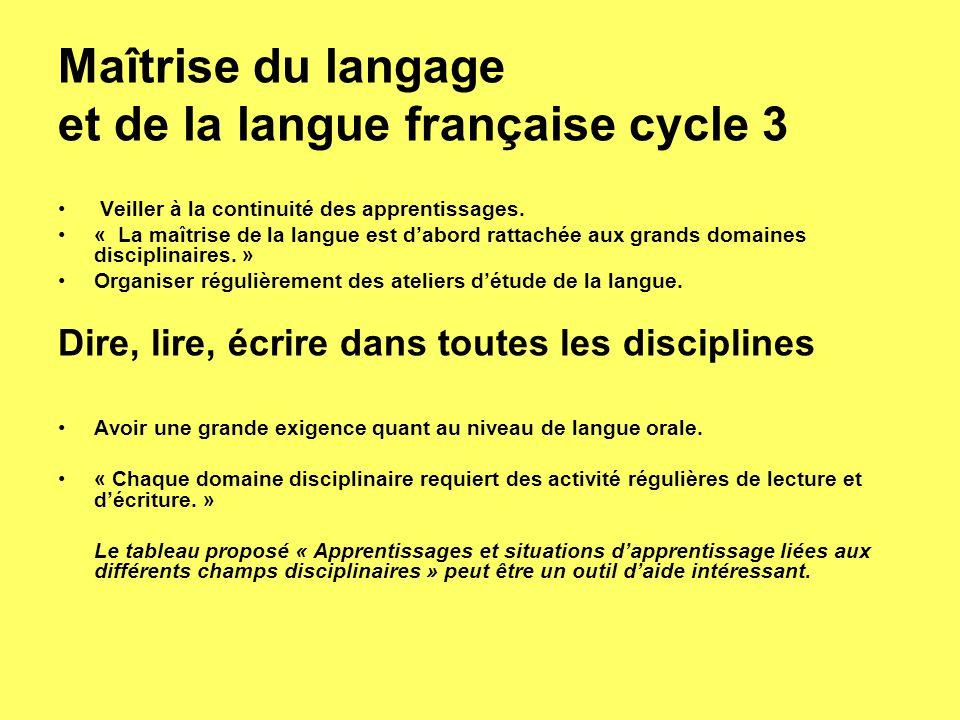 et de la langue française cycle 3