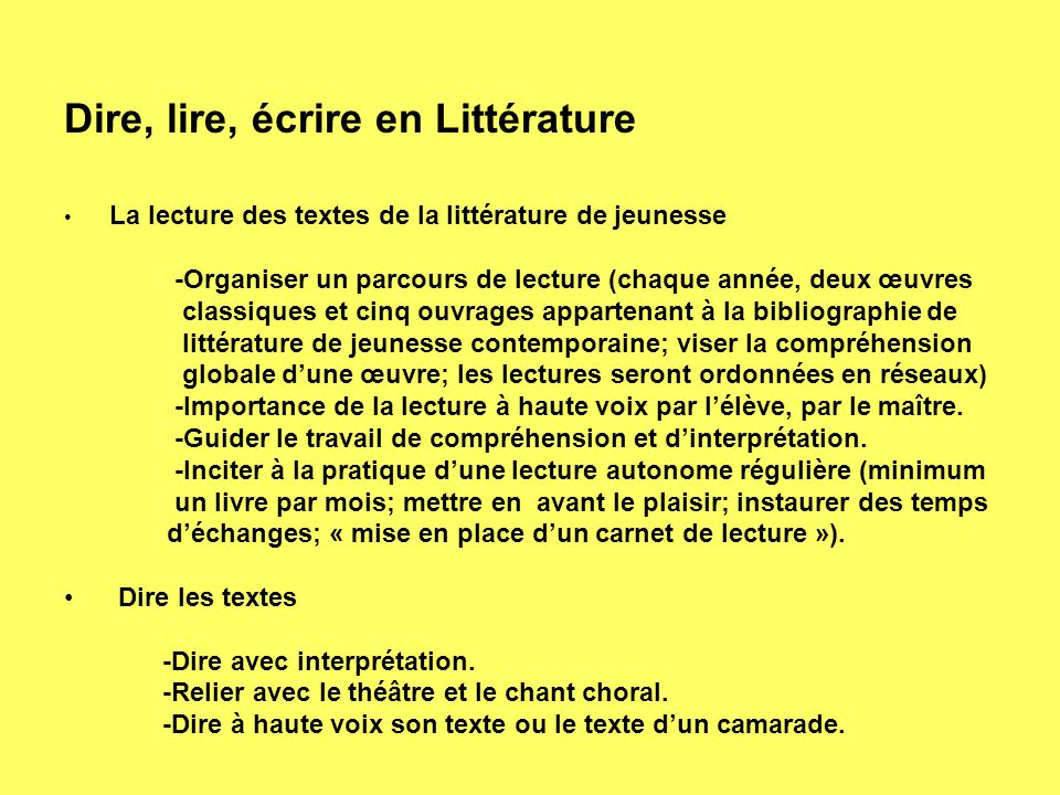 Dire, lire, écrire en Littérature