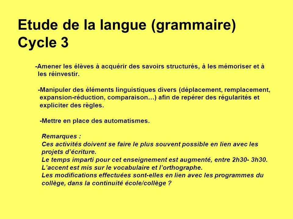 Etude de la langue (grammaire) Cycle 3