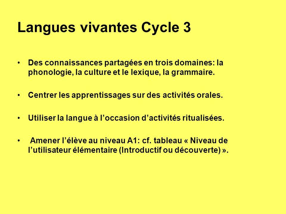 Langues vivantes Cycle 3