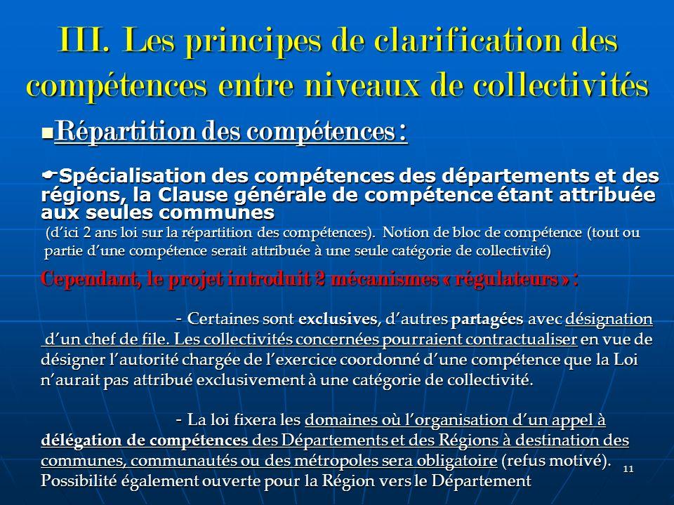 III. Les principes de clarification des compétences entre niveaux de collectivités