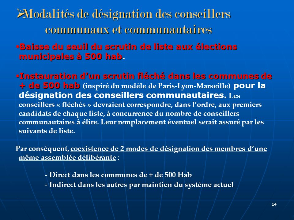 Modalités de désignation des conseillers communaux et communautaires