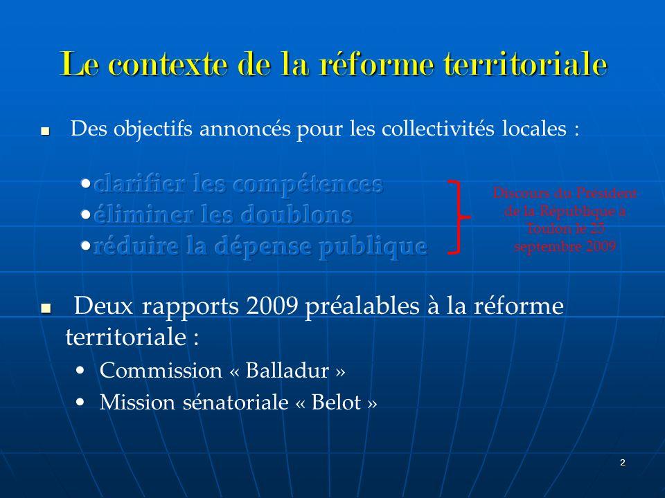 Le contexte de la réforme territoriale