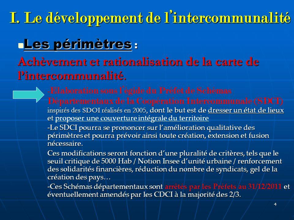 I. Le développement de l'intercommunalité