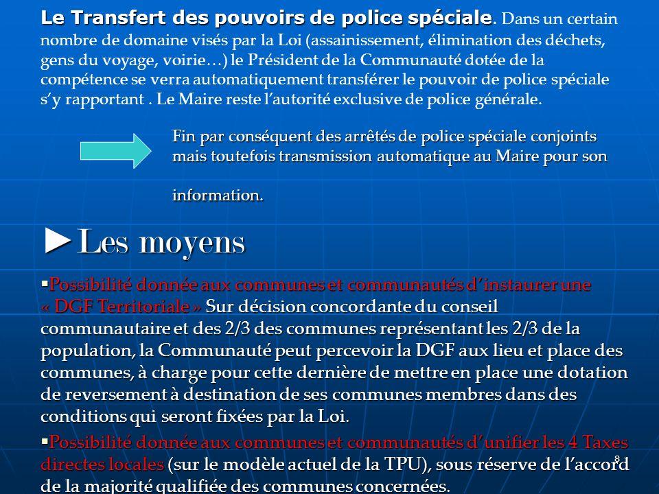 Le Transfert des pouvoirs de police spéciale
