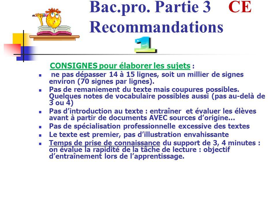 Bac.pro. Partie 3 CE Recommandations