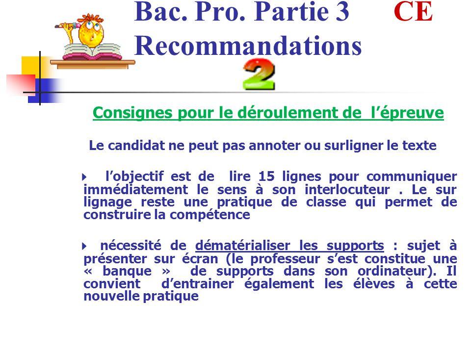 Bac. Pro. Partie 3 CE Recommandations