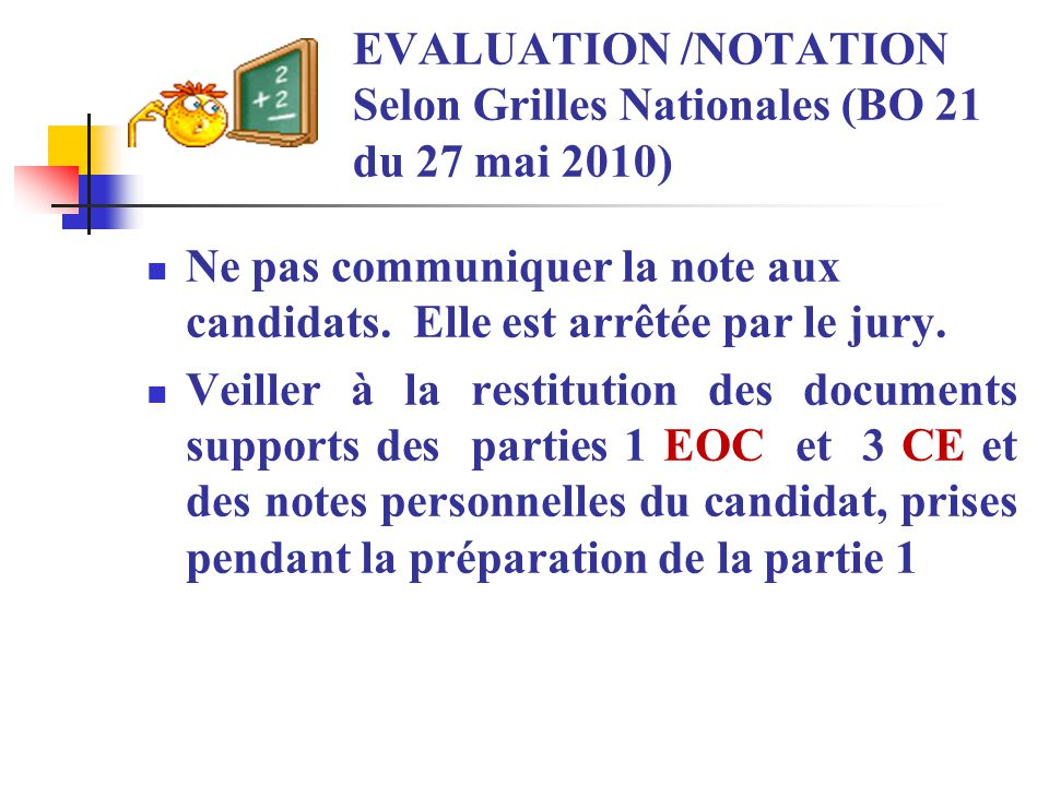 EVALUATION /NOTATION Selon Grilles Nationales (BO 21 du 27 mai 2010)