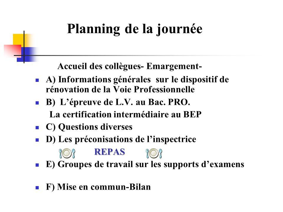 Planning de la journée Accueil des collègues- Emargement-