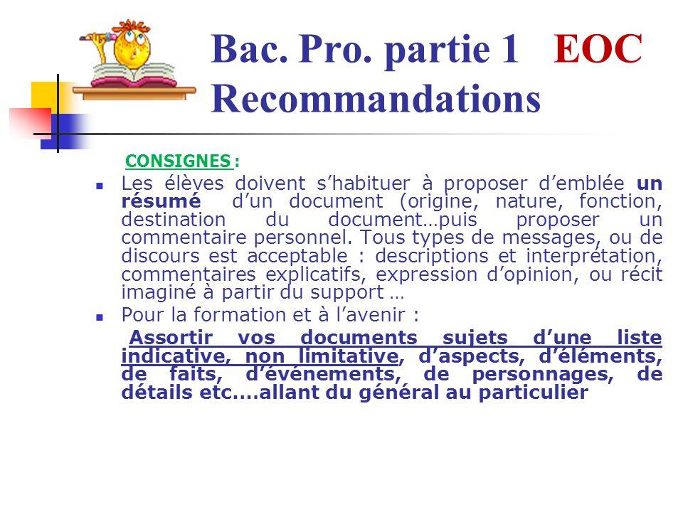 Bac. Pro. partie 1 EOC Recommandations
