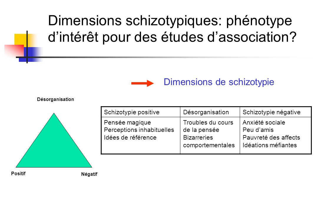 Dimensions schizotypiques: phénotype d'intérêt pour des études d'association