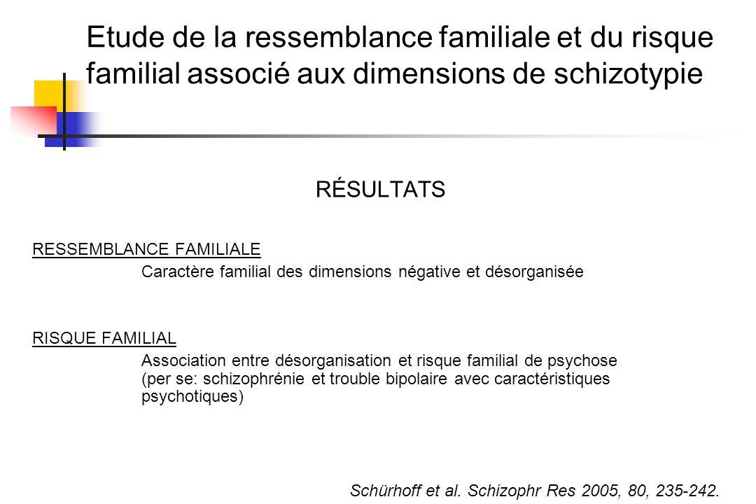 Etude de la ressemblance familiale et du risque familial associé aux dimensions de schizotypie