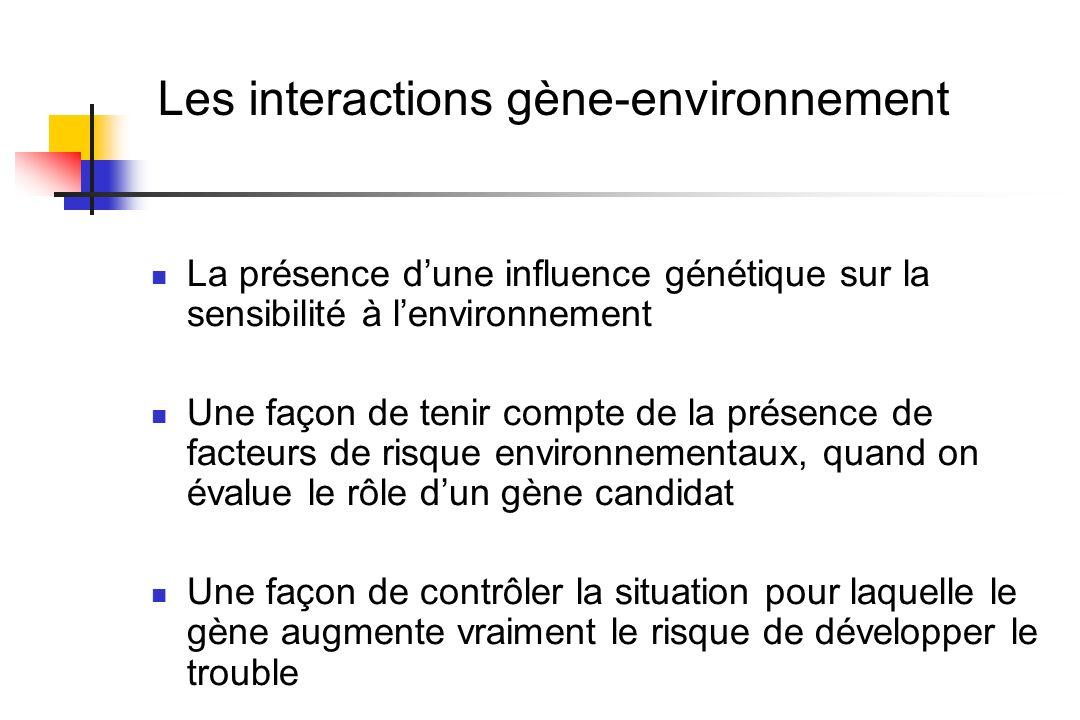 Les interactions gène-environnement
