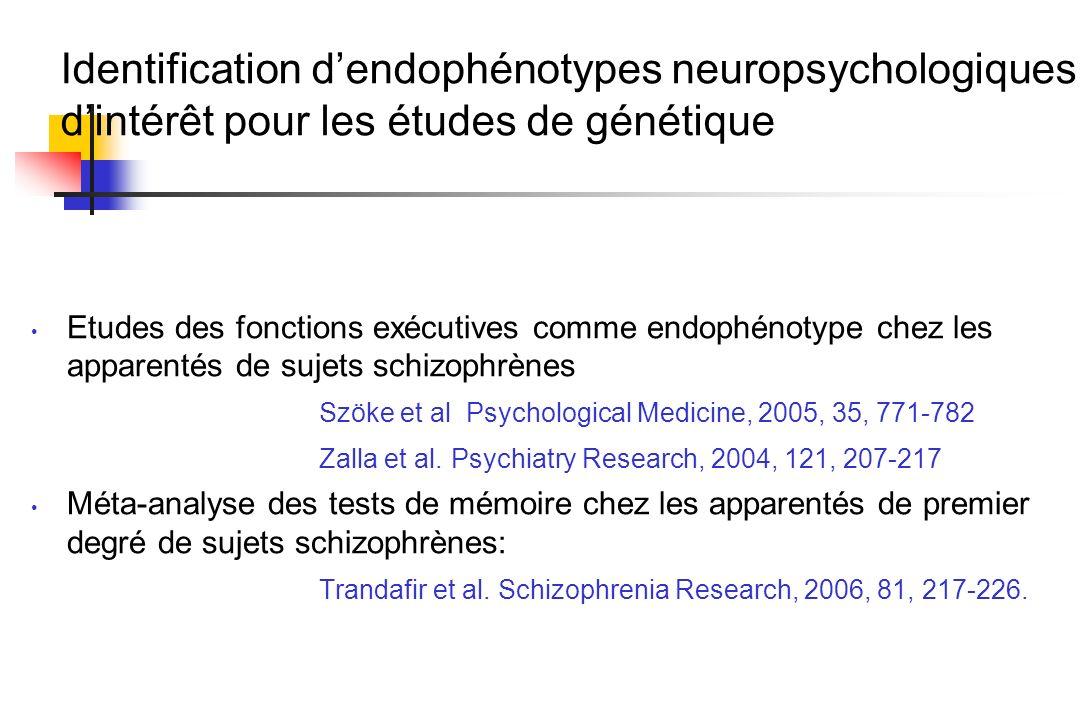 Identification d'endophénotypes neuropsychologiques d'intérêt pour les études de génétique