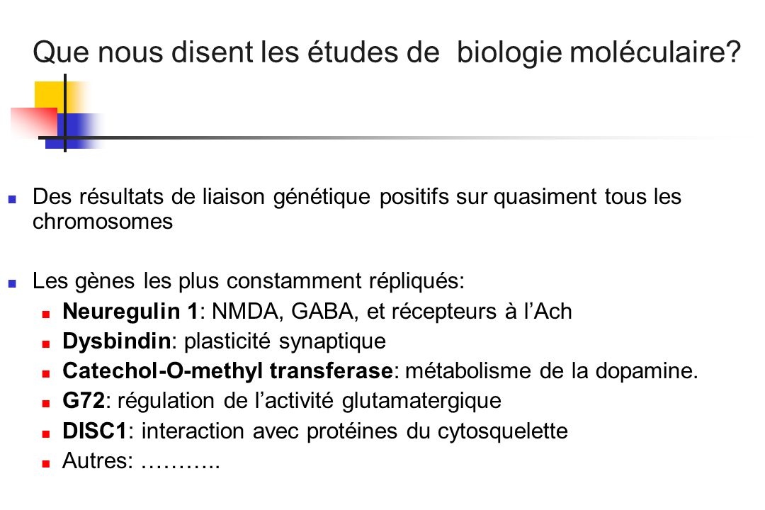 Que nous disent les études de biologie moléculaire