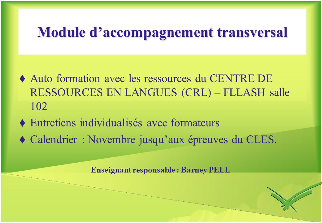 Module d'accompagnement transversal