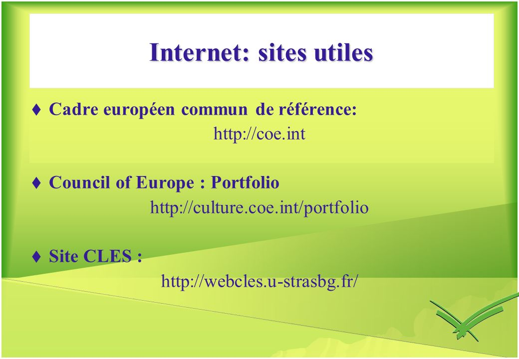 Internet: sites utiles