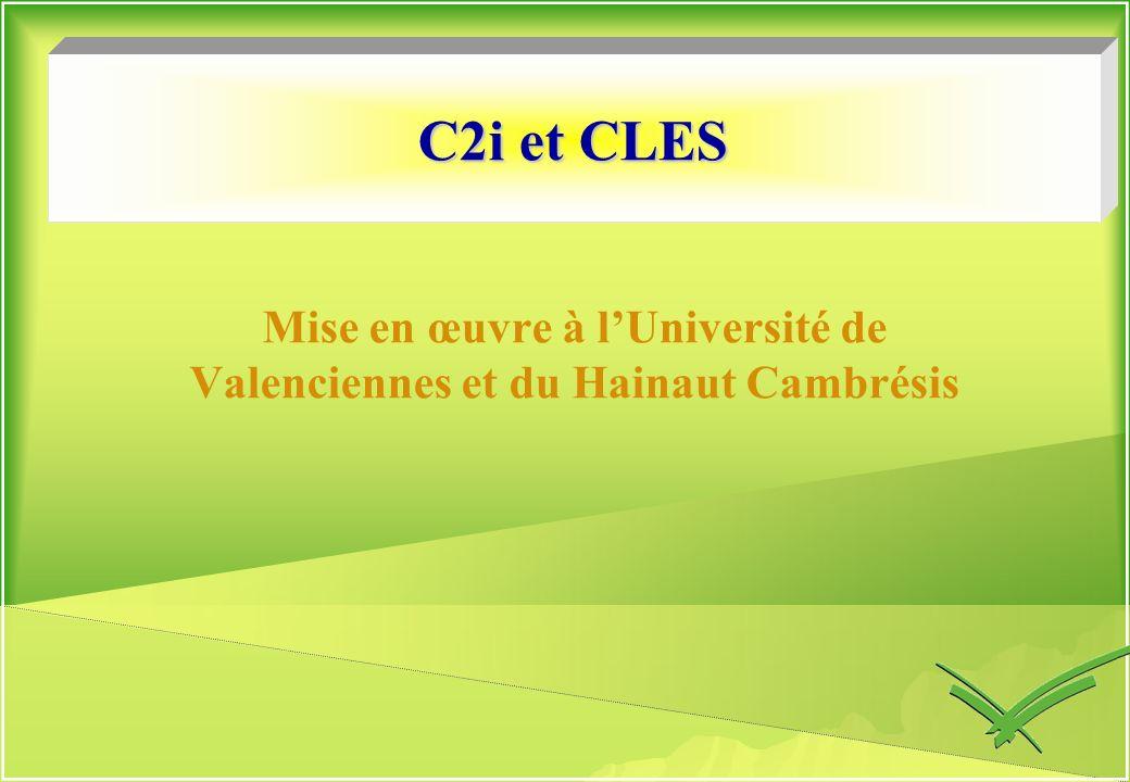 Mise en œuvre à l'Université de Valenciennes et du Hainaut Cambrésis