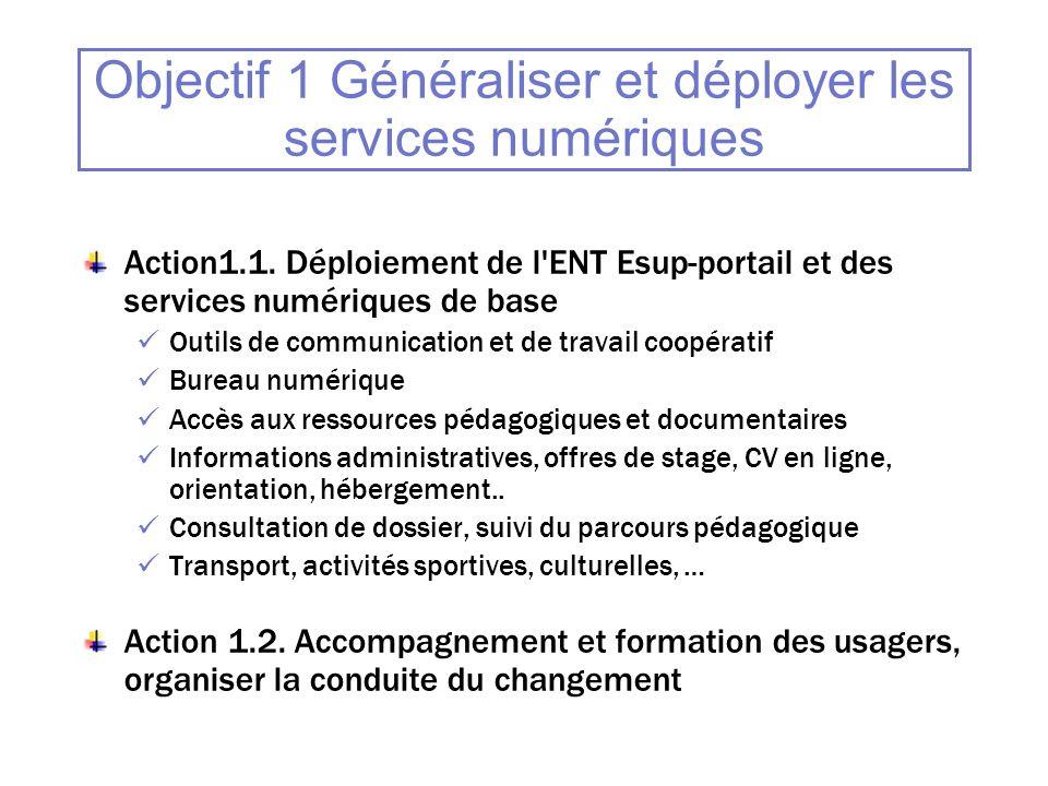 Objectif 1 Généraliser et déployer les services numériques