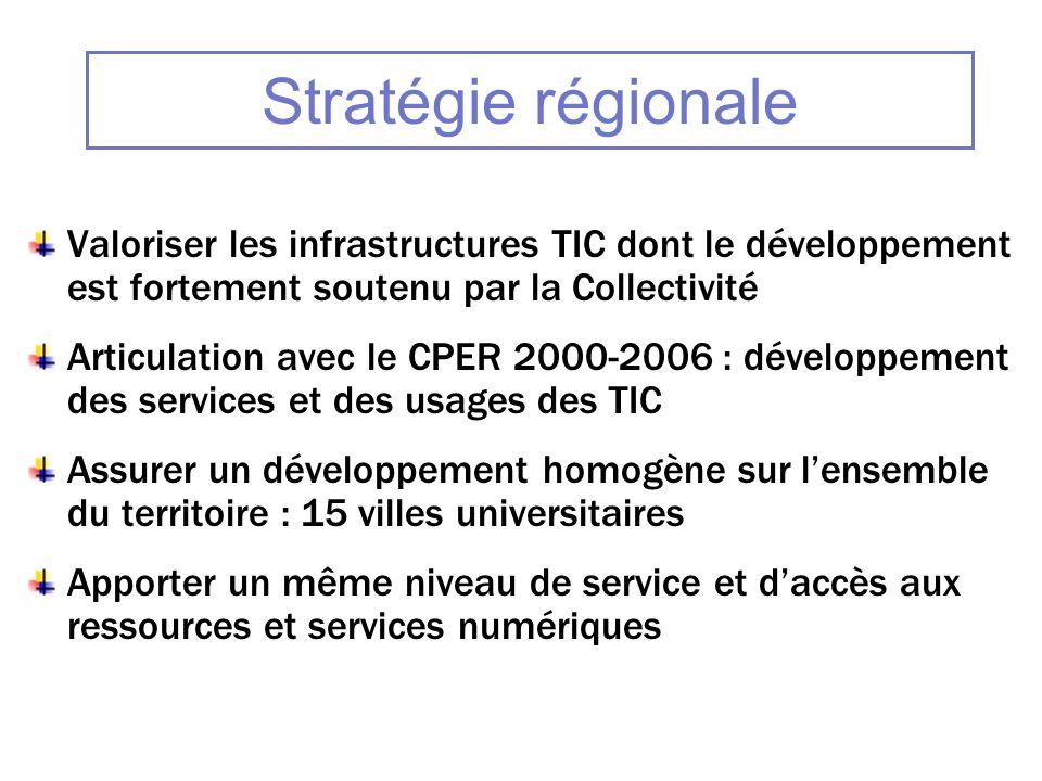 Stratégie régionale Valoriser les infrastructures TIC dont le développement est fortement soutenu par la Collectivité.