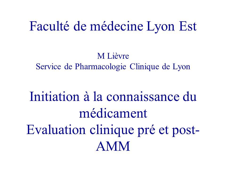 Faculté de médecine Lyon Est M Lièvre Service de Pharmacologie Clinique de Lyon Initiation à la connaissance du médicament Evaluation clinique pré et post-AMM