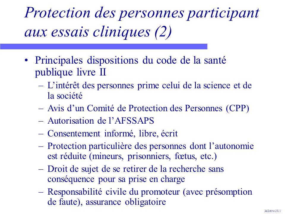 Protection des personnes participant aux essais cliniques (2)